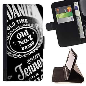 BullDog Case - FOR/HTC One M7 / - / whiskey alcohol bottel party quality design /- Monedero de cuero de la PU Llevar cubierta de la caja con el ID Credit Card Slots Flip funda de cuer