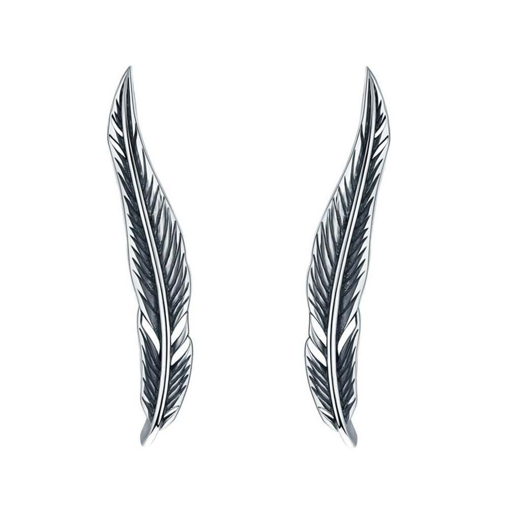 925 Sterling Silver Vintage Style Feather Climber Earrings