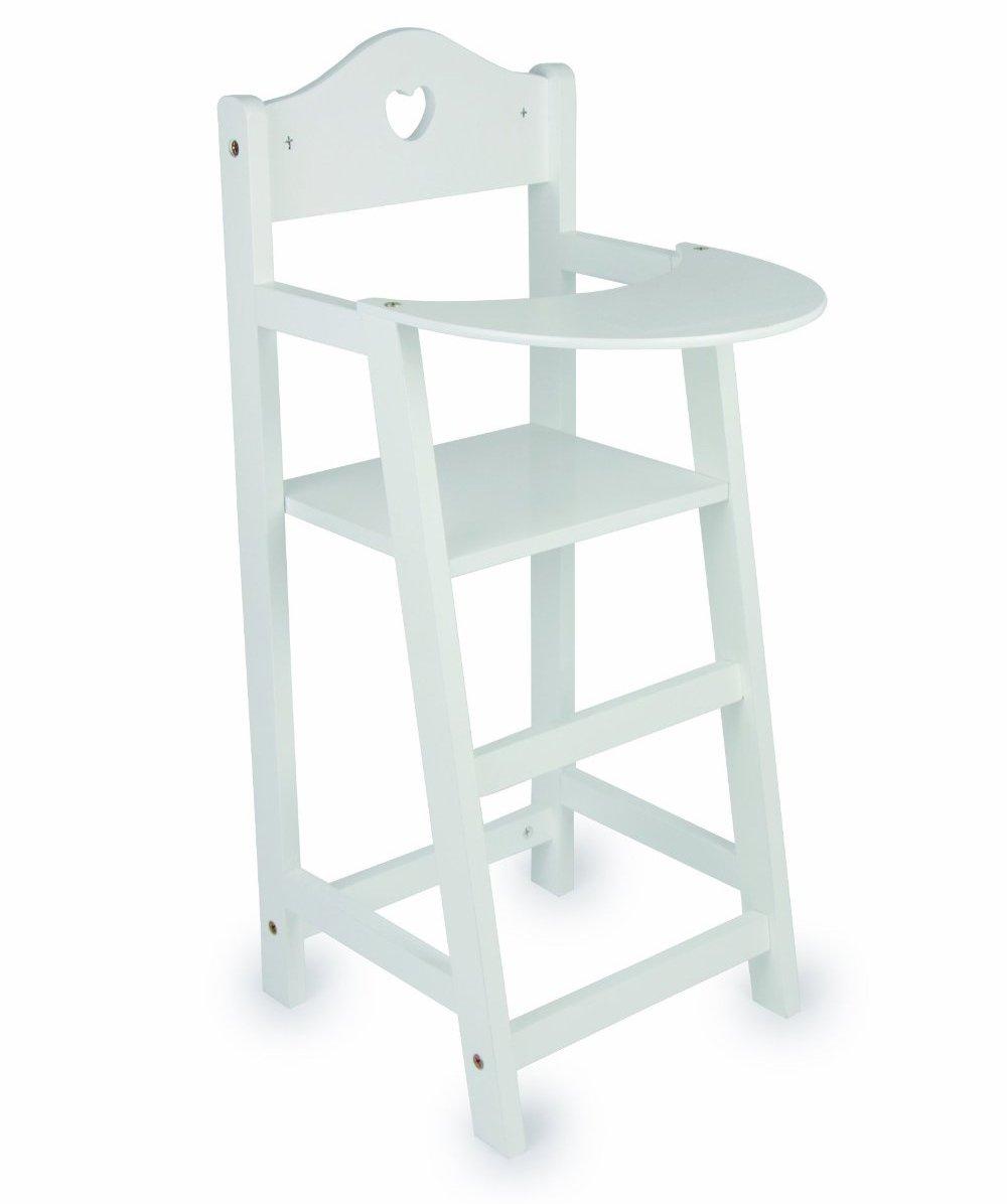 15 Designs Dolls Wooden Set High Chair Rocking Crib Cot Bed Pram Pushchair Girls Toy (White High Chair) MTS