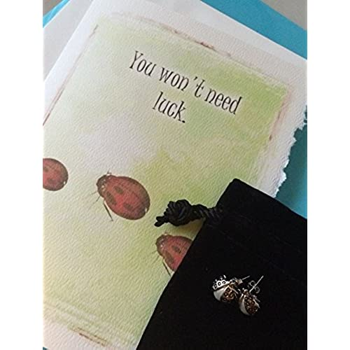 Good Luck Greeting Card and Lucky Ladybug Gift Set for Her - I Believe in You - Freshwater Pearl Lapel Pins or Stud Earrings Sales
