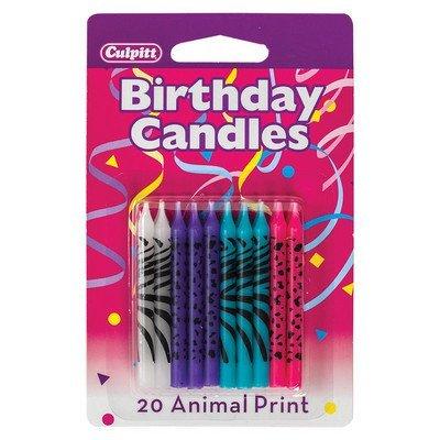 Brillante Animal Print tarta de cumpleaños velas - 20 pc ...