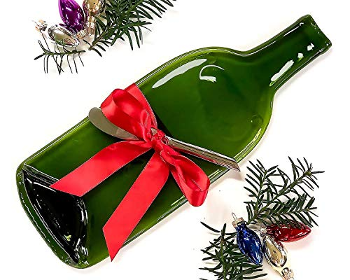 Melted Wine Bottle - Cheese Tray Melted Wine Bottle with Cheese Spreader Christmas Gift