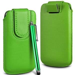 Online-Gadgets UK - Prima cuero de la PU del caso del tirón de la bolsa Con Tire Tab cierre magnético y alta sensibilidad Stylus Pen Para Huawei Ascend P7 - Verde