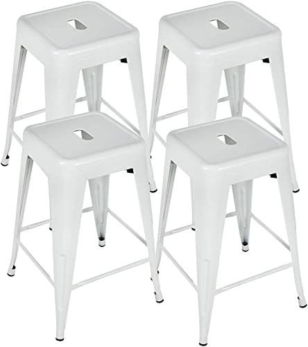 Bonzy Home Bar Stools Set of 4, 24 inches Metal Bar Stools, Stackable Counter Height Barstools, Farmhouse Barstool for Kitchen Indoor Outdoor Backless Bar Stools – White