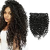 Cheap Clip in Human Hair Extensions Afro Jerry Curly 3B 3C Real Hair Clip in Extensions For Black Women Natural Black Color 100% Brazilian African Hair Curly Extensions 10-22 inch (20 inch, Jerry Curly)