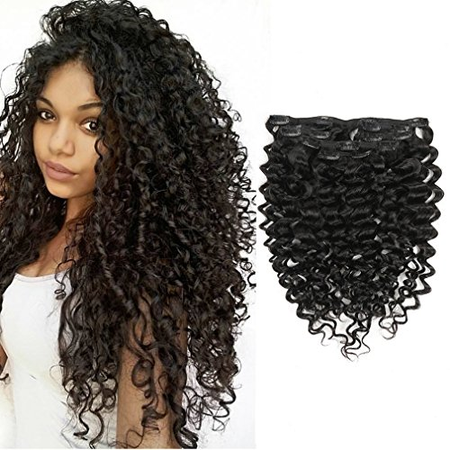 LacerHair 18inch Curly Clip In Human Hair Extensions 3B 3C Mongolian Virgin Hair Afro Kinky Curly Clip in Hair Extensions Natural 4B 4C Kinky Curly Clip Ins 7Pcs/lot 120Gram/Set