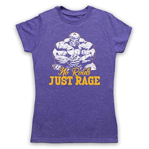 No Roids Just Rage Bodybuilding Culture Slogan Camiseta para Mujer Morado Clásico
