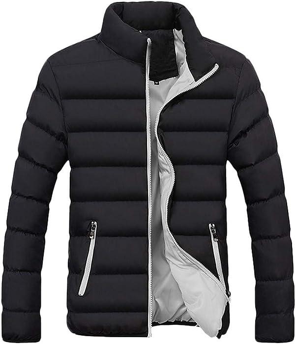 Uomo Autunno Inverno Tinta Unita Risvolto Corta Slim Fit Cappotto in Pile  di Cotone Solido con Zip E Cappuccio Cappuccio 7dc223b0efaf