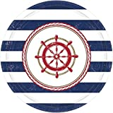 Amscan Anchor's Aweigh Nautical Party Round Dessert Plates (Pack Of 8), Multicolor, 7