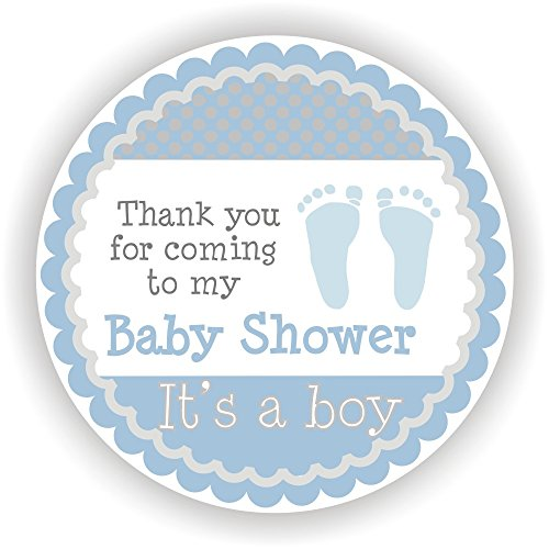 Philly Art & Crafts Baby Boy Shower Stickers - It's a Boy Stickers - Favor Stickers - Baby Shower Favor Stickers - Baby Footprint Stickers - Set of 40 Stickers ()
