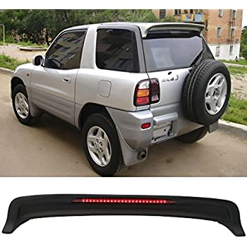 Roof Spoiler Fits 1994-2000 Toyota RAV4 | OE Style ABS Matte Black Rear Wind Visor Spoiler Wing With LED Light By IKON MOTORSPORTS | 1995 1996 1997 1998 ...