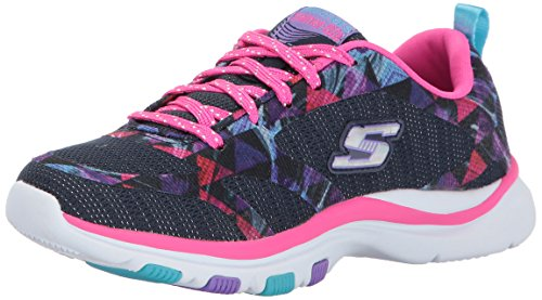 Skechers Kids Girls' Trainer Lite Sneaker,navy/hot pink, (Girls Childrens Trainers)