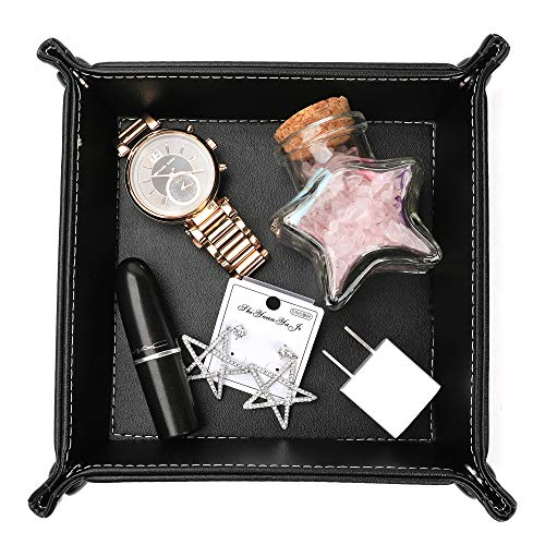 Leather Valet Tray, Jewelry Tray, Catchall Tray, Desktop Storage Organizer,Bedside Caddy for Men Key Wallet Watch Coin Phone Change,Candy Holder Sundries Tray,Convenient for Travel (Dark Black)