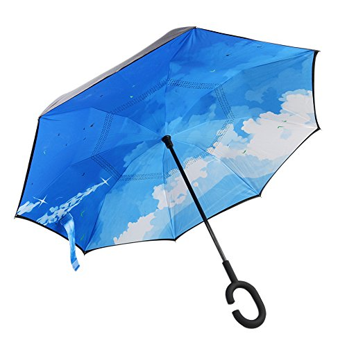 Reverse Auto Open Umbrella, Upside Down Windproof Foldable Umbrella ,Double Layer, Self Standing Inside Out Umbrella Inverted with C-shaped Hands Free Handle ,for Car In Rain Protection (purple) by Lucky voice