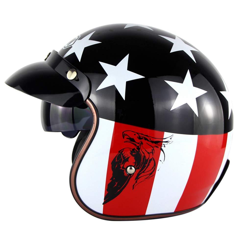 Retro Harley Motorrad Helm//Pers/önlichkeit Prinz Scooter Halbhelm-Lokomotive Leichthelm M/änner und Frauen Stra/ße Reiten Helm Helm,Eagle,M57~58CM
