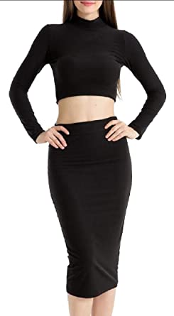 5a09ee274ce08 chenshijiu Womens Long Sleeve Crop Top Midi Skirt Outfit Two Piece Bodycon  Bandage Dress Black L