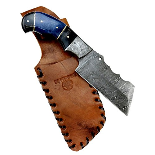 Hunt-Down-9-Damascus-Blade-Horn-Handle-Hunting-Knife-with-Leather-Sheath