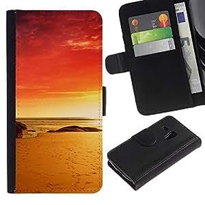 // PHONE CASE GIFT // Moda Estuche Funda de Cuero Billetera Tarjeta de crédito dinero bolsa Cubierta de proteccion Caso Samsung Galaxy S3 MINI 8190 / Red Beach /