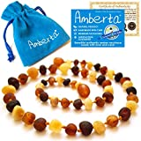 Amber Teething Necklace for Babies Amberta - Teething Discomfort & Drooling Relief, Anti Inflammatory, Immune System Boost - 12.6 inches, 100% Pure Amber, Raw, Twist-in Screw Clasp, Handmade