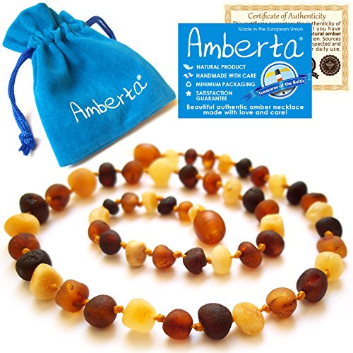 Amber Teething Necklace for Babies Amberta – Teething Discomfort  Drooling Relief, Anti Inflammatory, Immune System Boost – 12.6 inches, 100% Pure Am…