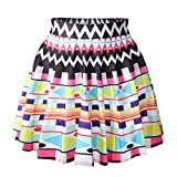 Longwu Women Girls Digital Print Stretchy Flared Pleated Casual Mini Skirt Geometric Figure