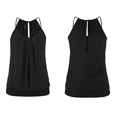 83b17dfdda0ff Hengshikeji Clearance Women Summer Loose Wrinkled O Neck Cami Tank Tops  Vest Sleeveless Blouse Shirts Teen
