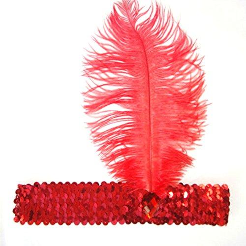 Bandeau Garçonne Sequins Rouge Couvre-chef De Costume De Plumes De Filles Weixinbuy