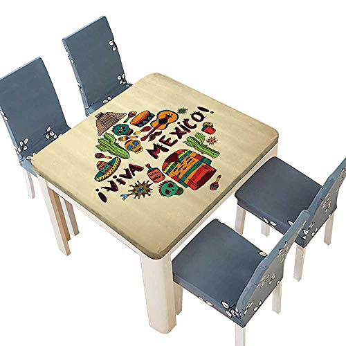 - PINAFORE Indoor/Outdoor Polyester Tablecloth Mexican Symbols Viva Mexico Ornate Historic Heritage Civilizati Drumsticks Wedding Restaurant Party Decoration 53 x 53 INCH (Elastic Edge)
