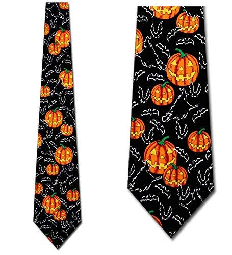 Pumpkin Bat Witch Neck Ties Halloween Mens Neckties -