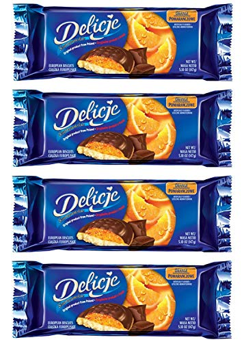 (Delicje European Biscuits Orange Filling (Pack of 4))