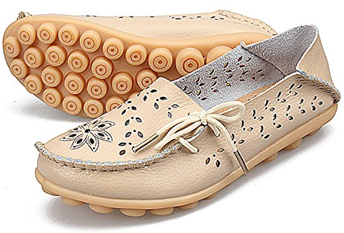 Joansam Kvinna Sommar Urholka Carving Casual Läder Drivande Platta Dagdrivare Skor Beige