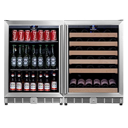KingsBottle KBU-50Combo-BW2 Innovative Combo 2-Zone Dual Temperature Wine and Beer Cooler with Glass Door, Holds 160 Cans 46 Bottles, Vibration Free, Exceptional Temperature ()