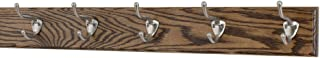 "product image for PegandRail Oak Coat Rack with Satin Nickel Hat and Coat Style Hooks (Walnut, 25.5"" x 3.5"" with 5 Hooks)"