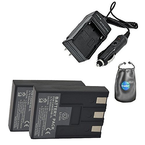 Amsahr S-NB3L-2CT Digital Replacement Battery Plus Travel Charger for Canon NB-3L, CB-2LU (Gray)