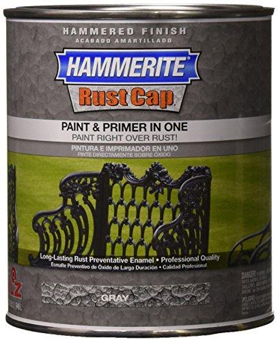 Masterchem 43145 Hammerite Rust Cap Hammered Gray Enamel Paint, (Masterchem Hammerite Metal)