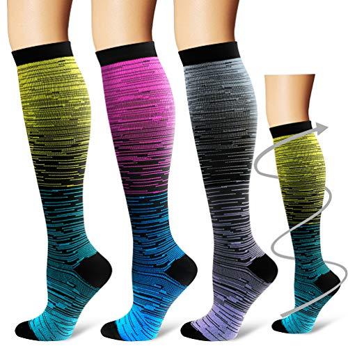 Laite Hebe Compression Socks,(3 Pairs) Compression Sock Women & Men - Best Running, Athletic Sports, Crossfit, Flight Travel (Multti-colors24, Small/Medium)