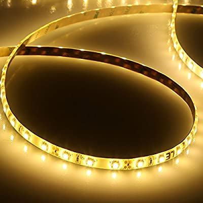 LE 16.4ft Waterproof Flexible LED Light Strip, 300 Units SMD 2835 LED, 12V LED Light Strips, 3000K Warm White, LED Tape, For Garden/ Home/ Kitchen/ Car/ Bar/Christmas Decoration