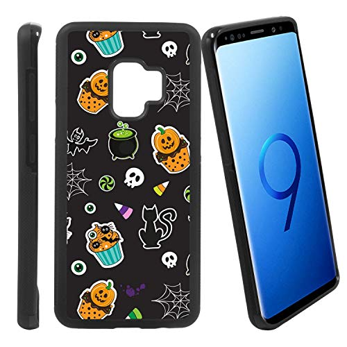 [Halloween Cupcake Pattern] Compatible with Samsung Galaxy S9/ G960U/G960W, Non-Slip Soft Rubber Side & Hard Back Case Cover Shell -