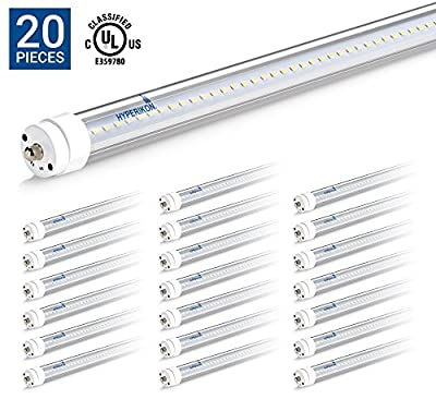 HyperSelect T8 T10 T12 8FT LED Tube Light, 36W (75W Equiv.), Ballast Bypass, Shatterproof, Fluorescent Replacement, High Output, 3800 Lumens, 5000K, UL, Clear, Workshop, Warehouse, Garage - 20 Pack