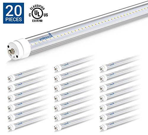 T12 Fluorescent Fixtures (HyperSelect T8 T10 T12 8FT LED Tube Light, 36W (75W Equiv.), Ballast Bypass, Shatterproof, Fluorescent Replacement, High Output, 3800 Lumens, 5000K, UL, Clear, Workshop, Warehouse, Garage - 20 Pack)