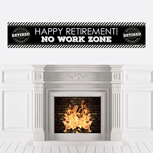 No Work Zone Party Tape - Big Dot of Happiness Happy Retirement - Retirement Party Decorations Party Banner