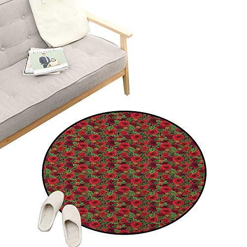 Christmas Round Rug Living RoomArt Deco ,Romantic Vibrant Roses and Buds Holly Berries Pine Cones and Leaves Print, Playroom Super Soft Carpet Floor Mat 23