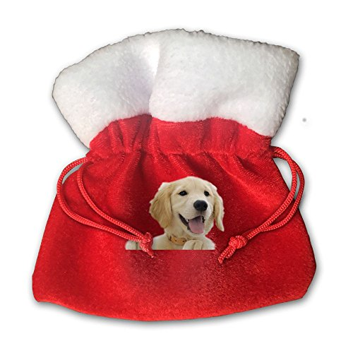 Golden Retriever Pup Christmas Gift Bag Cotton Santa Bag With Drawstring Size 15 X 15 Cm(Red) ()