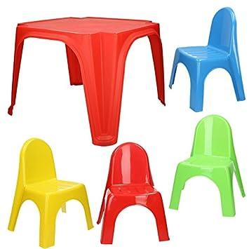 Kindertisch Stuhl amazon de kinder sitzgruppe tisch mit 4 stühlen kindertisch