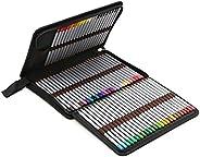 BTSKY® Portable Canvas Zippered Colour Pencil Case-Super Large Capacity 72 Slot Pencil Bag Pouch for Watercolo