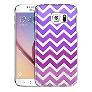 Samsung Galaxy S6 Case, Slim Snap On Cover Chevron Pink Purple White Case