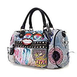 Cowboy Style Riveted Sequins Denim Bag