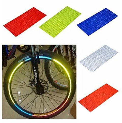 Fluorescent MTB Bike Bicycle Sticker Cycling Wheel Rim Reflective Stickers Decal for Outdoor Sports Accessories 1J4K (Red)