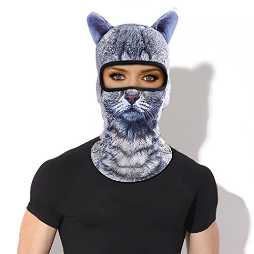 Outgeek Cat Mask, Women Men Balaclava Summer Full Face Hat Animal Ears Sports Helmet Climbing Fishing Cap (Cat and Dog) by Outgeek (Image #1)
