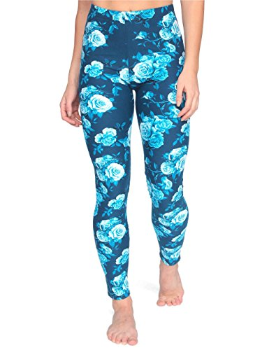 Velvet Moose Patterned Leggings for Women, Best Quality Spandex, Ultra Soft, Regular Size (XS – L) (Blue Floral) (Leggings Floral Spandex)